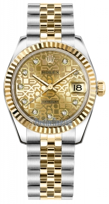 Rolex Datejust 31mm Stainless Steel and Yellow Gold 178273 Jubilee Champagne Diamond Jubilee