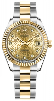 Rolex Datejust 31mm Stainless Steel and Yellow Gold 178273 Jubilee Champagne Diamond Oyster