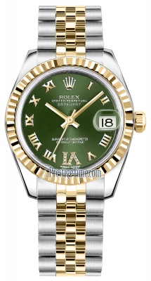 Rolex Datejust 31mm Stainless Steel and Yellow Gold 178273 Olive Green VI Roman Jubilee