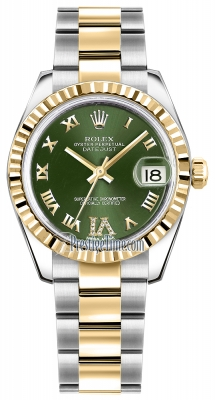 Rolex Datejust 31mm Stainless Steel and Yellow Gold 178273 Olive Green VI Roman Oyster