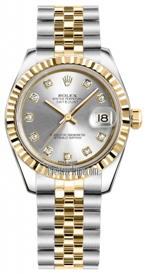 Rolex Datejust 31mm Stainless Steel and Yellow Gold 178273 Silver Diamond Jubilee