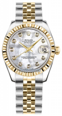 Rolex Datejust 31mm Stainless Steel and Yellow Gold 178273 White MOP Diamond Jubilee