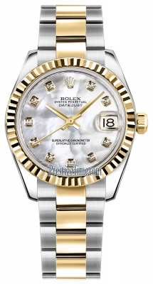 Rolex Datejust 31mm Stainless Steel and Yellow Gold 178273 White MOP Diamond Oyster