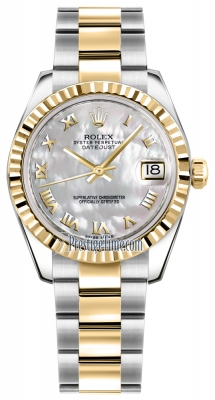 Rolex Datejust 31mm Stainless Steel and Yellow Gold 178273 White MOP Roman Oyster