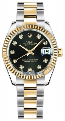 Rolex Datejust 31mm Stainless Steel and Yellow Gold 178273 Black Diamond Oyster