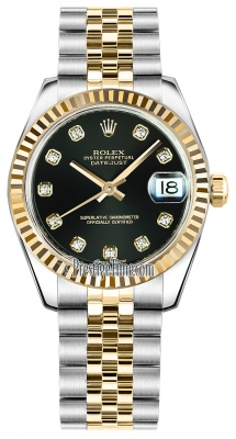 Rolex Datejust 31mm Stainless Steel and Yellow Gold 178273 Black Diamond Jubilee