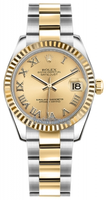 Rolex Datejust 31mm Stainless Steel and Yellow Gold 178273 Champagne Roman Oyster