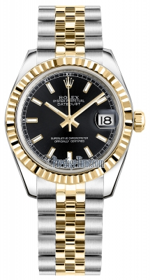 Rolex Datejust 31mm Stainless Steel and Yellow Gold 178273 Black Index Jubilee