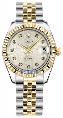 Rolex Datejust 31mm Stainless Steel and Yellow Gold 178273 Jubilee Silver Diamond Jubilee