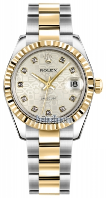 Rolex Datejust 31mm Stainless Steel and Yellow Gold 178273 Jubilee Silver Diamond Oyster
