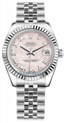 Rolex Datejust 31mm Stainless Steel 178274 Pink MOP Roman Jubilee