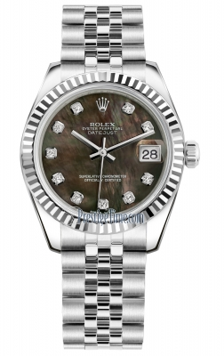 Rolex Datejust 31mm Stainless Steel 178274 Black MOP Diamond Jubilee