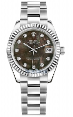 Rolex Datejust 31mm Stainless Steel 178274 Black MOP Diamond Oyster