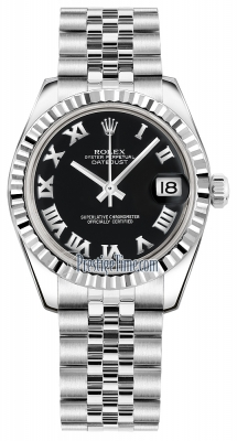 Rolex Datejust 31mm Stainless Steel 178274 Black Roman Jubilee