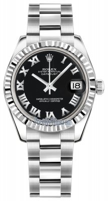 Rolex Datejust 31mm Stainless Steel 178274 Black Roman Oyster