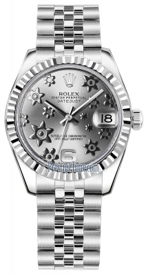 Rolex Datejust 31mm Stainless Steel 178274 Rhodium Floral Jubilee
