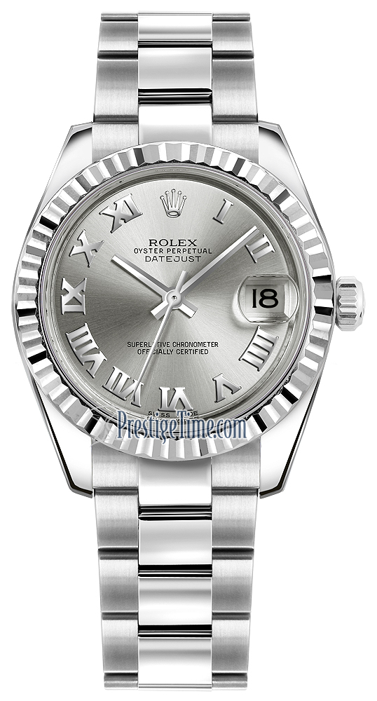 178274 Rhodium Roman Oyster Rolex Datejust 31mm Stainless Steel ... 2050e64316