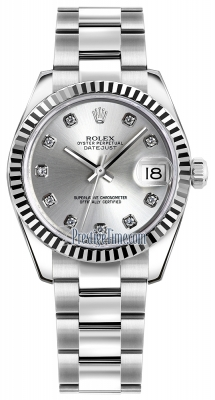 Rolex Datejust 31mm Stainless Steel 178274 Silver Diamond Oyster