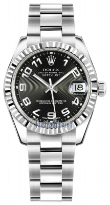 Rolex Datejust 31mm Stainless Steel 178274 Black Concentric Arabic Oyster
