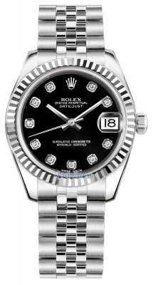 Rolex Datejust 31mm Stainless Steel 178274 Black Diamond Jubilee