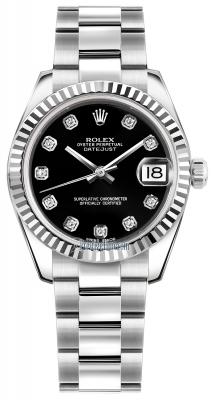 Rolex Datejust 31mm Stainless Steel 178274 Black Diamond Oyster