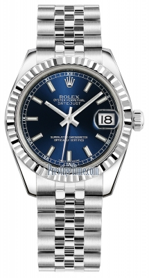 Rolex Datejust 31mm Stainless Steel 178274 Blue Index Jubilee