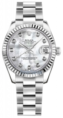 Rolex Datejust 31mm Stainless Steel 178274 White MOP Diamond Oyster