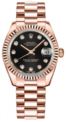 Rolex Datejust 31mm Everose Gold 178275 Black Diamond President