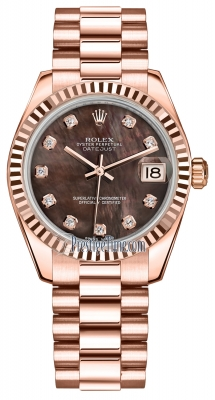 Rolex Datejust 31mm Everose Gold 178275 Black MOP Diamond President
