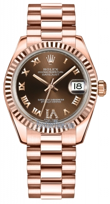Rolex Datejust 31mm Everose Gold 178275 Chocolate VI Roman President