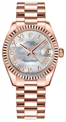 Rolex Datejust 31mm Everose Gold 178275 MOP Roman President