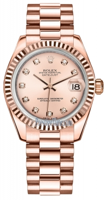 Rolex Datejust 31mm Everose Gold 178275 Pink Diamond President