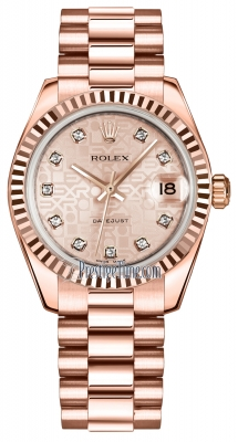 Rolex Datejust 31mm Everose Gold 178275 Pink Jubilee Diamond President