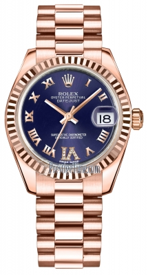Rolex Datejust 31mm Everose Gold 178275 Purple VI Roman President