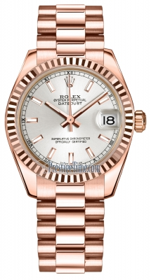 Rolex Datejust 31mm Everose Gold 178275 Silver Index President