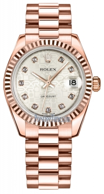 Rolex Datejust 31mm Everose Gold 178275 Silver Jubilee Diamond President
