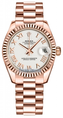 Rolex Datejust 31mm Everose Gold 178275 White Roman President