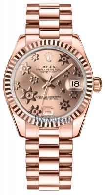 Rolex Datejust 31mm Everose Gold 178275 Pink Floral President