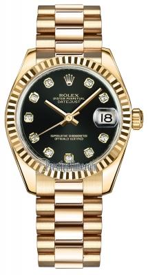 Rolex Datejust 31mm Yellow Gold 178278 Black Diamond President