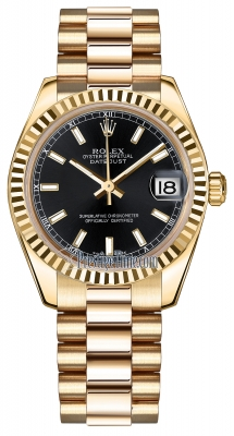 Rolex Datejust 31mm Yellow Gold 178278 Black Index President
