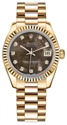 Rolex Datejust 31mm Yellow Gold 178278 Black MOP Diamond President