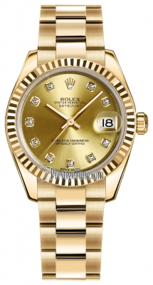 Rolex Datejust 31mm Yellow Gold 178278 Champagne Diamond Oyster