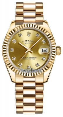 Rolex Datejust 31mm Yellow Gold 178278 Champagne Diamond President