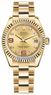 Rolex Datejust 31mm Yellow Gold 178278 Champagne 8 Diamond 32 Ruby Oyster