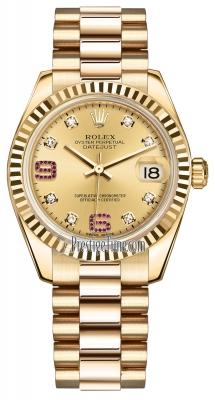 Rolex Datejust 31mm Yellow Gold 178278 Champagne 8 Diamond 32 Ruby President
