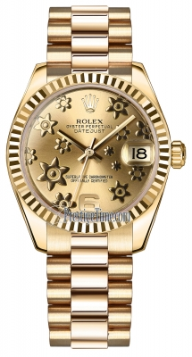 Rolex Datejust 31mm Yellow Gold 178278 Champagne Floral President
