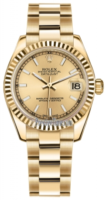 Rolex Datejust 31mm Yellow Gold 178278 Champagne Index Oyster