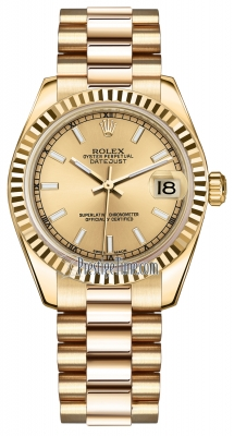 Rolex Datejust 31mm Yellow Gold 178278 Champagne Index President