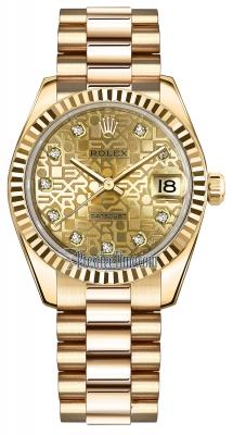 Rolex Datejust 31mm Yellow Gold 178278 Champagne Jubilee Diamond President