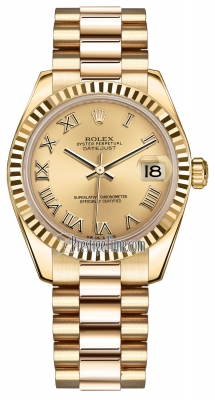 Rolex Datejust 31mm Yellow Gold 178278 Champagne Roman President